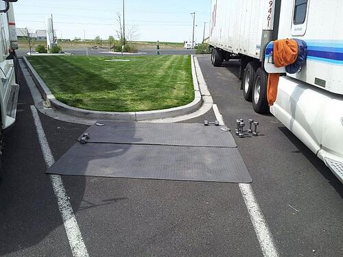 P90X set up by truck